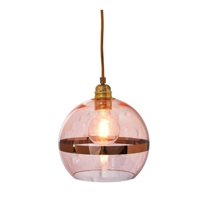 Copenhagen Glass Collection ROWAN coral glass and coral stripe pendant with gold cable (mini)