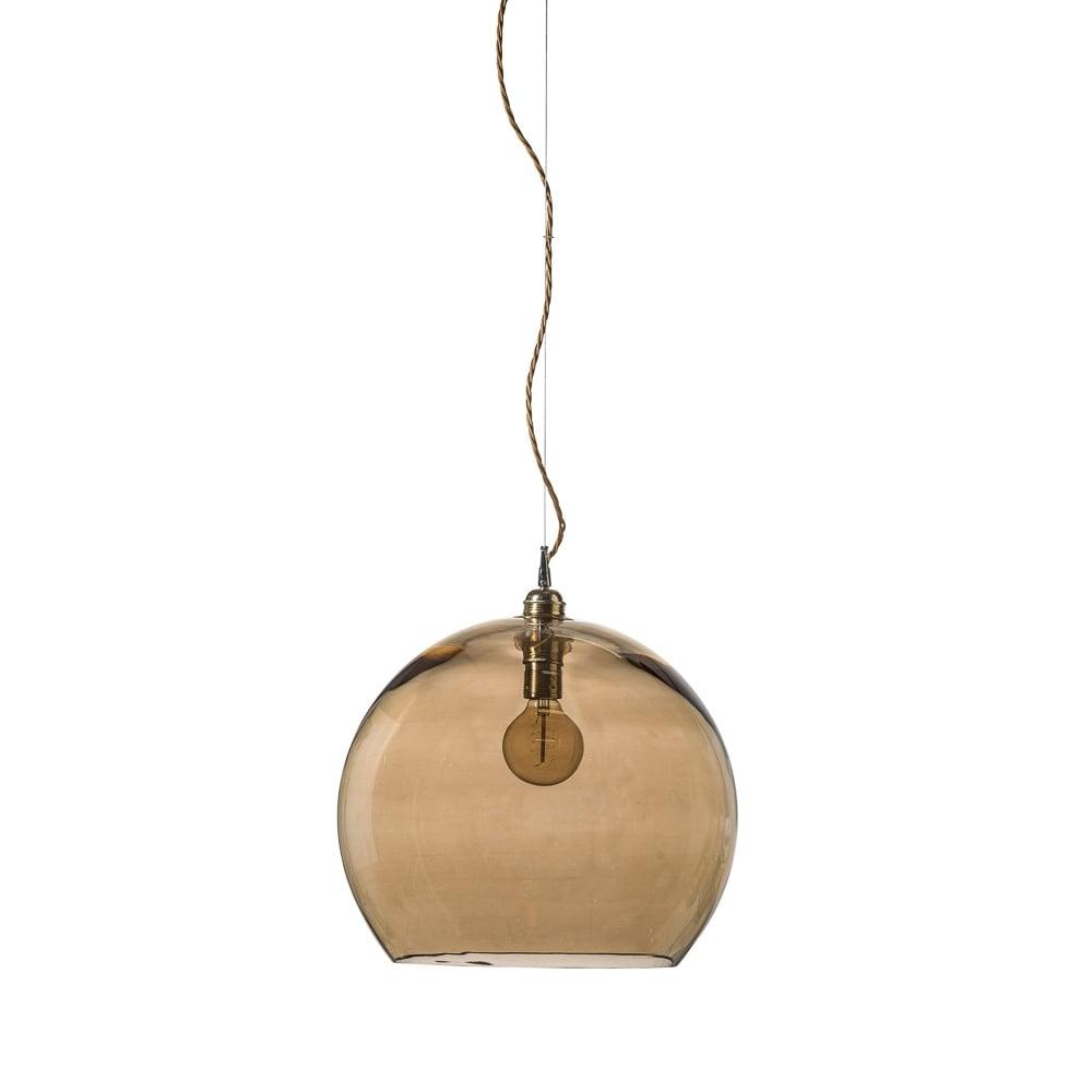 ROWAN Golden Smoked Glass Ceiling Pendant Light Large