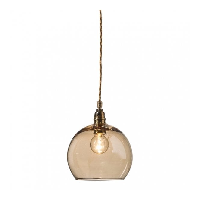 Copenhagen Glass Collection ROWAN golden smoked glass ceiling pendant light (mini)