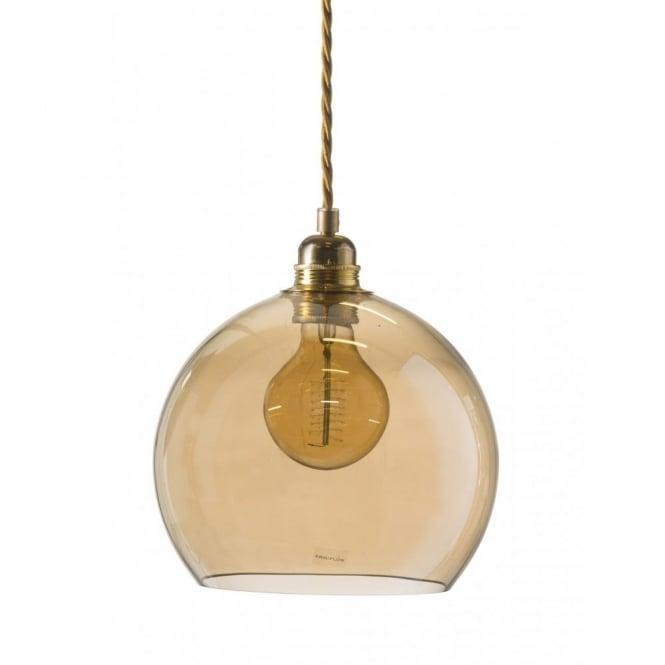 Copenhagen Glass Collection ROWAN golden smoked glass ceiling pendant light (small)
