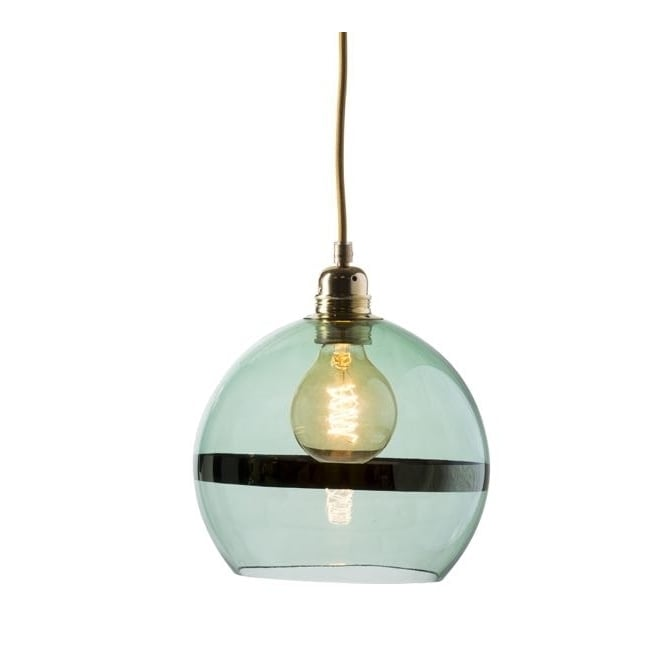 Copenhagen Glass Collection ROWAN green glass and green stripe pendant with gold cable (medium)