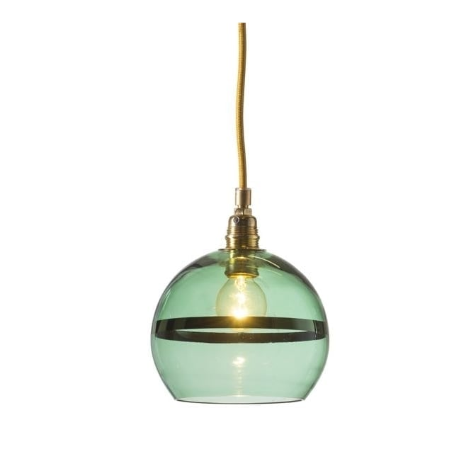 Copenhagen Glass Collection ROWAN green glass and green stripe pendant with gold cable (mini)