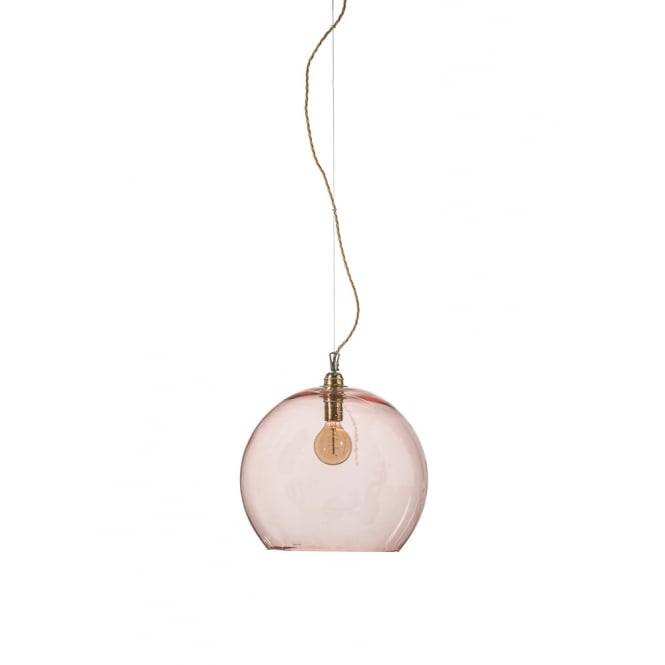 Copenhagen Glass Collection ROWAN large transparent coral glass ceiling pendant light