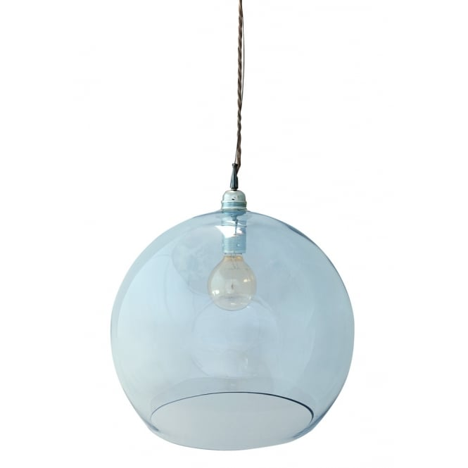 Copenhagen Glass Collection ROWAN large transparent topaz blue glass ceiling pendant light