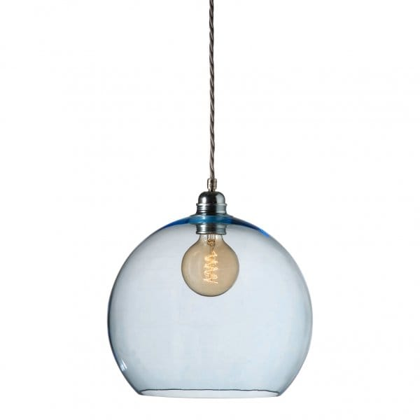 Blue Medium Blown Glass Ceiling Pendant With Silver