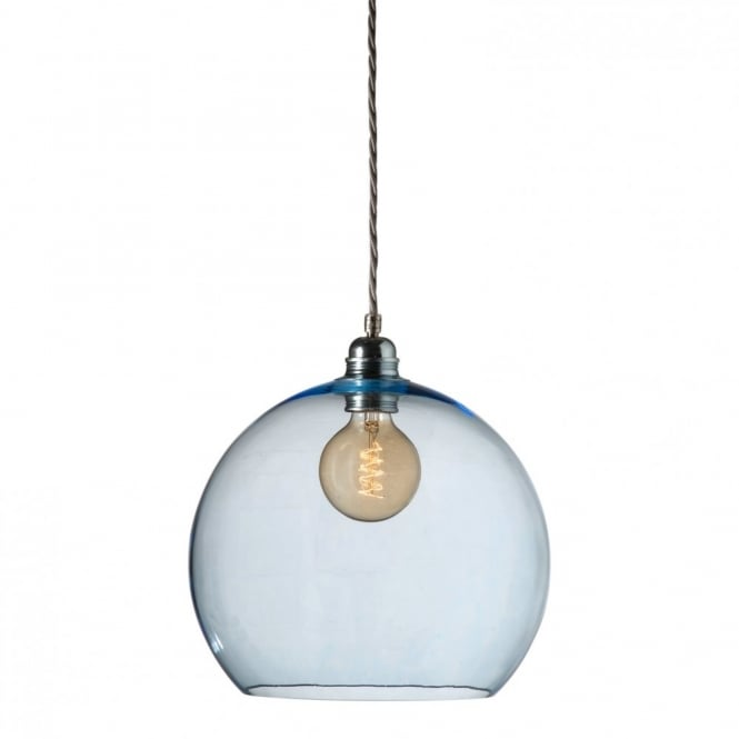 Copenhagen Glass Collection ROWAN medium blue glass ceiling pendant light