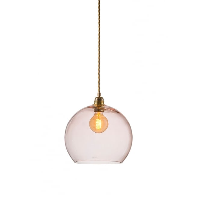 Copenhagen Glass Collection ROWAN medium transparent coral glass ceiling pendant light