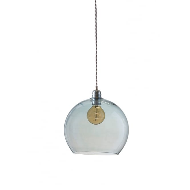 Copenhagen Glass Collection ROWAN medium transparent topaz blue glass ceiling pendant light