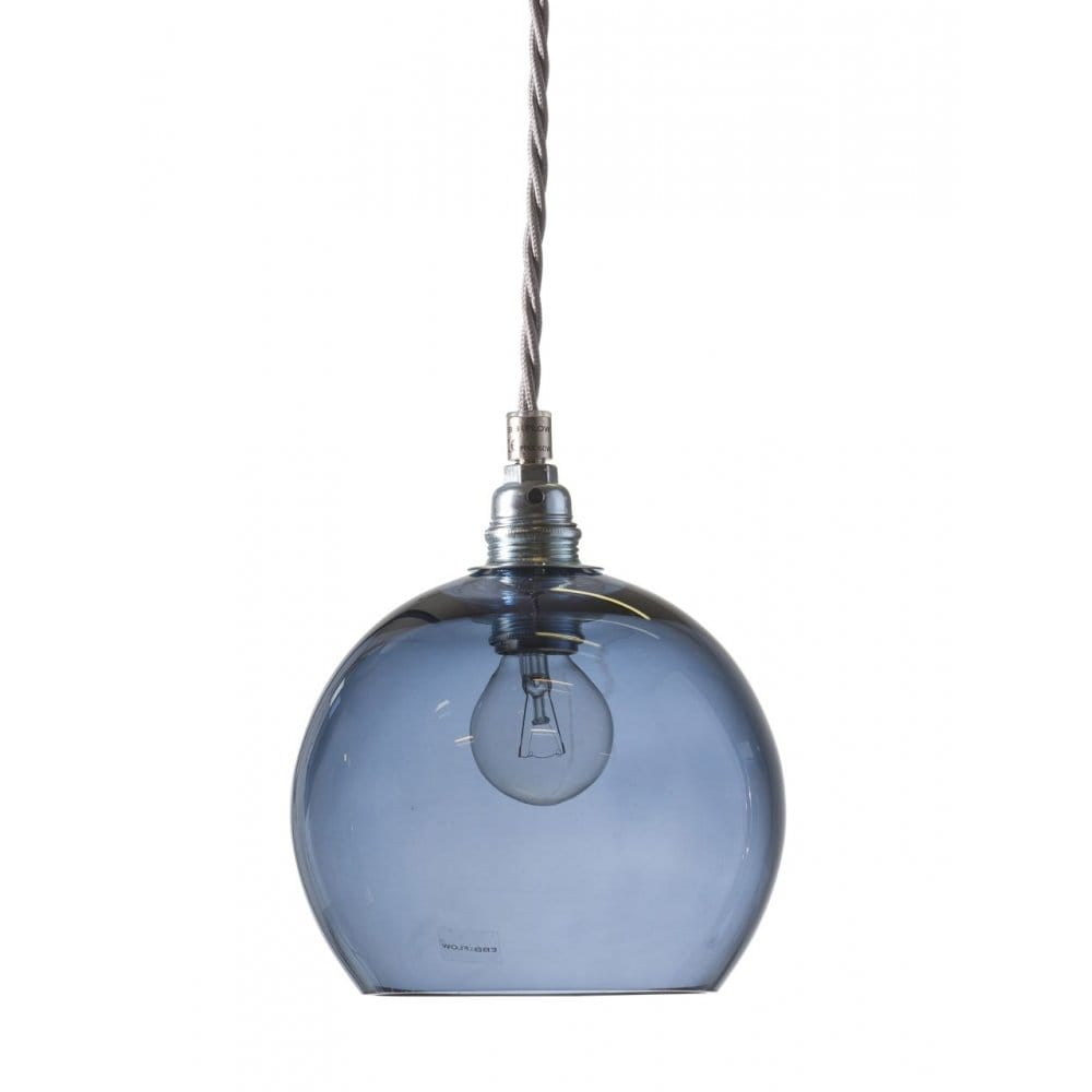 blue blown glass ceiling pendant with silver braided cable