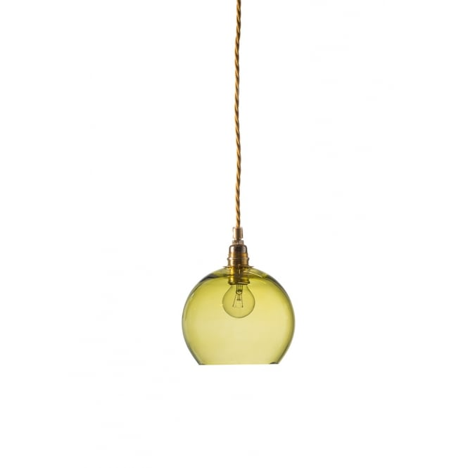 Copenhagen Glass Collection ROWAN mini transparent olive green glass ceiling pendant light