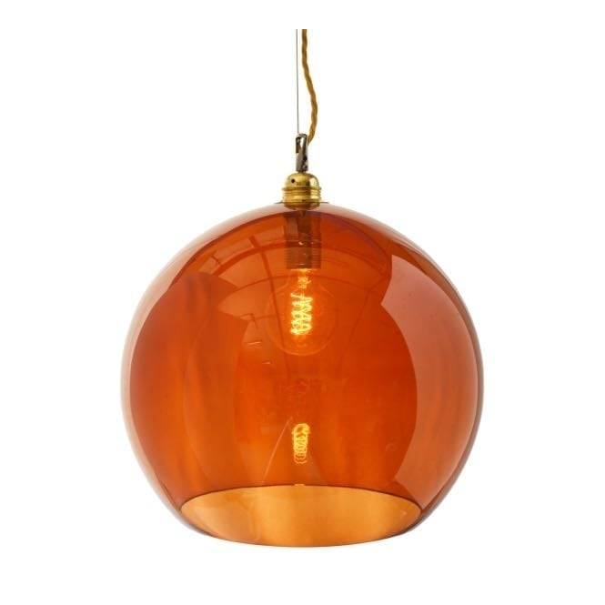ROWAN rust coloured glass pendant with gold cable (large)