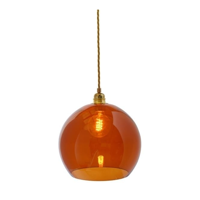 Copenhagen Glass Collection ROWAN rust coloured glass pendant with gold cable (medium)