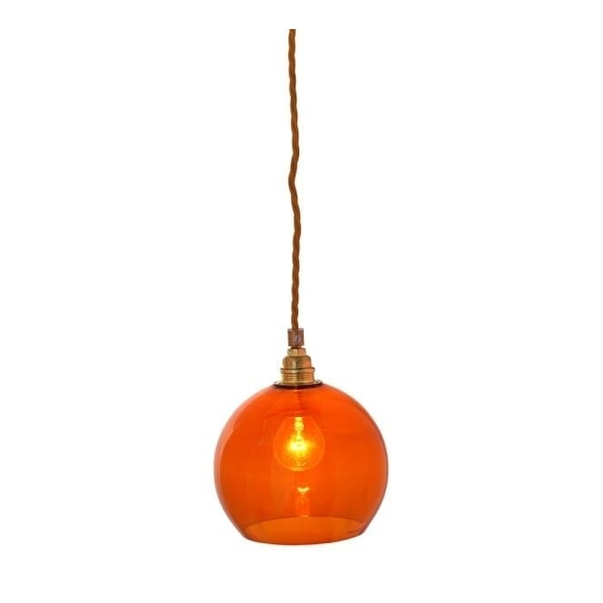 Copenhagen Glass Collection ROWAN rust coloured glass pendant with gold cable (mini)