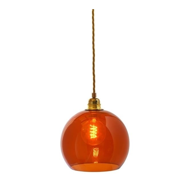 Copenhagen Glass Collection ROWAN rust coloured glass pendant with gold cable (small)