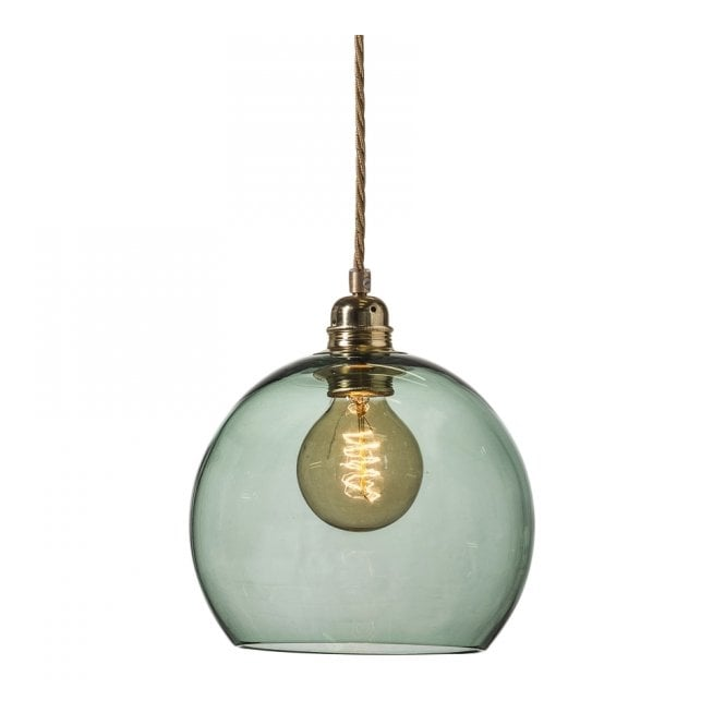 Copenhagen Glass Collection ROWAN small forest green glass ceiling pendant light
