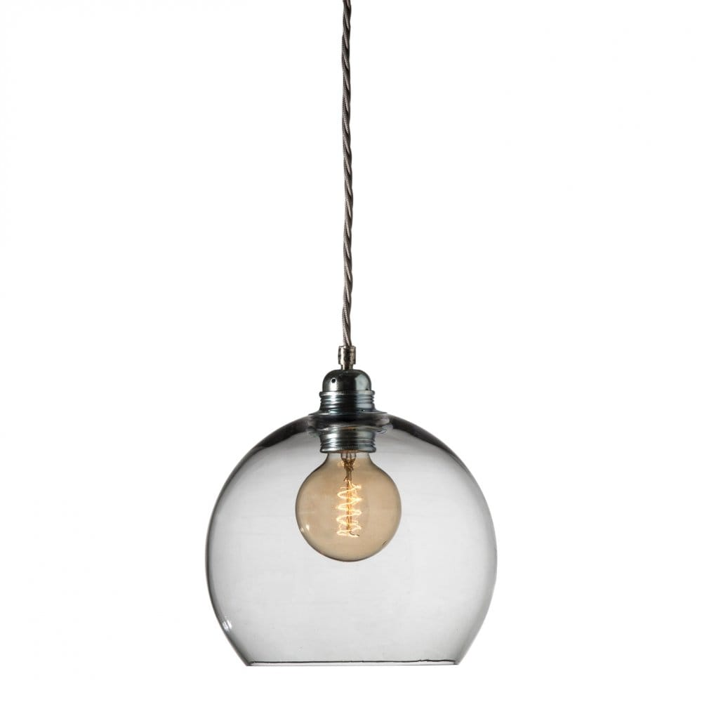 Ceiling Lights Grey : Smokey grey blown glass ceiling pendant with silver