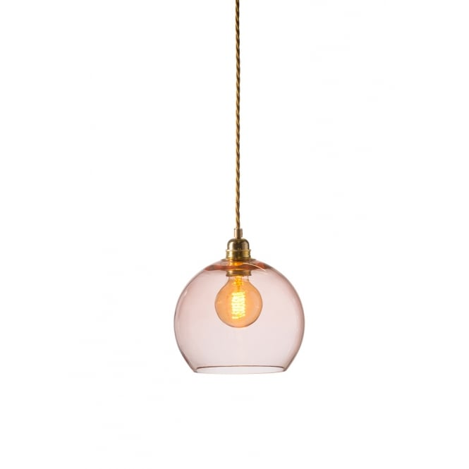 Copenhagen Glass Collection ROWAN small transparent coral glass ceiling pendant light