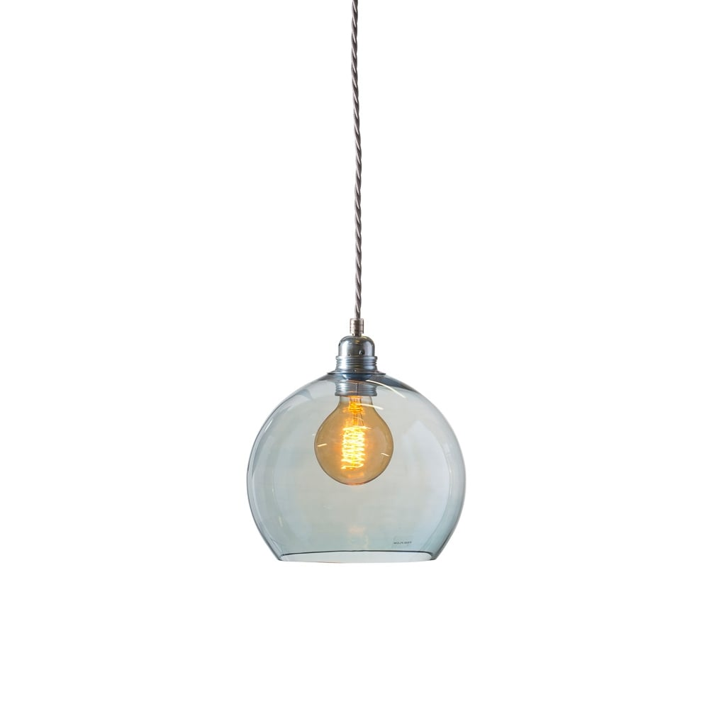 Rowan small transparent topaz blue glass ceiling pendant for Lights company