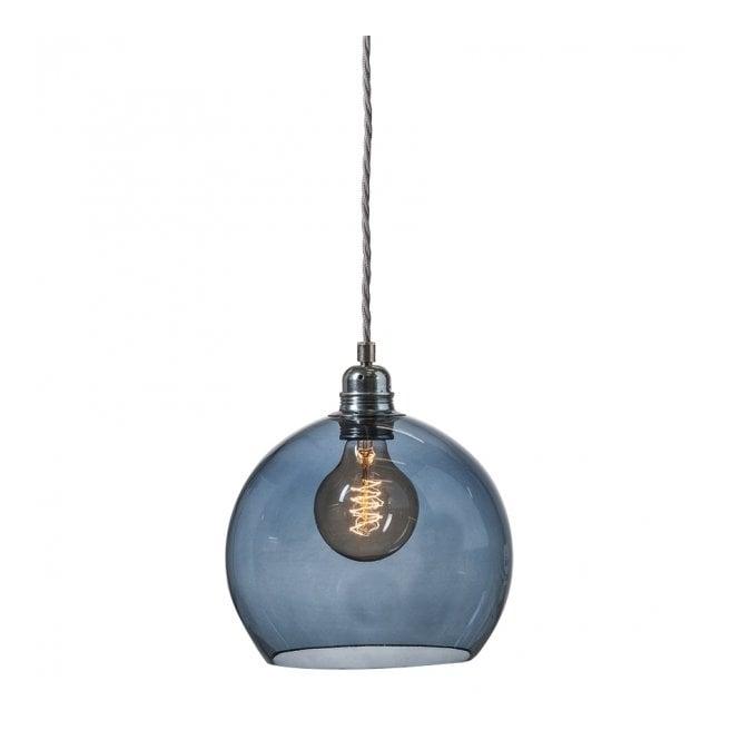 Decorative Mouthblown Glass Globe Pendant In Transparent Blue