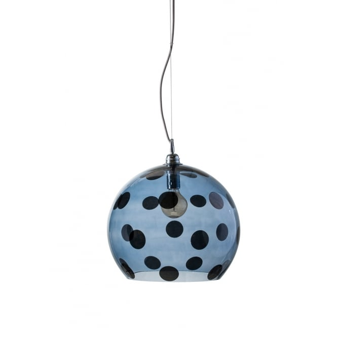 Copenhagen Glass Collection ROWAN transparent blue glass ceiling pendant with blue dots (large)