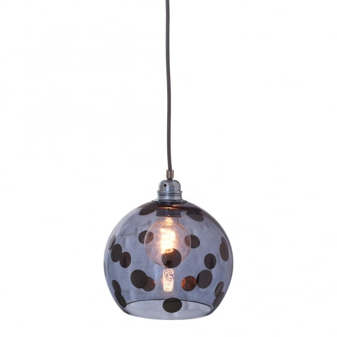 Copenhagen Glass Collection ROWAN transparent blue glass ceiling pendant with blue dots (medium)