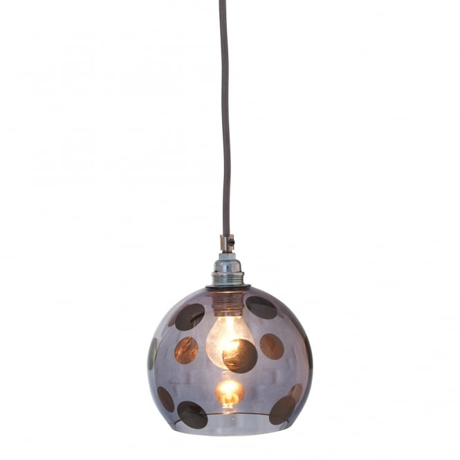 Copenhagen Glass Collection ROWAN transparent blue glass ceiling pendant with dark blue dots (mini)