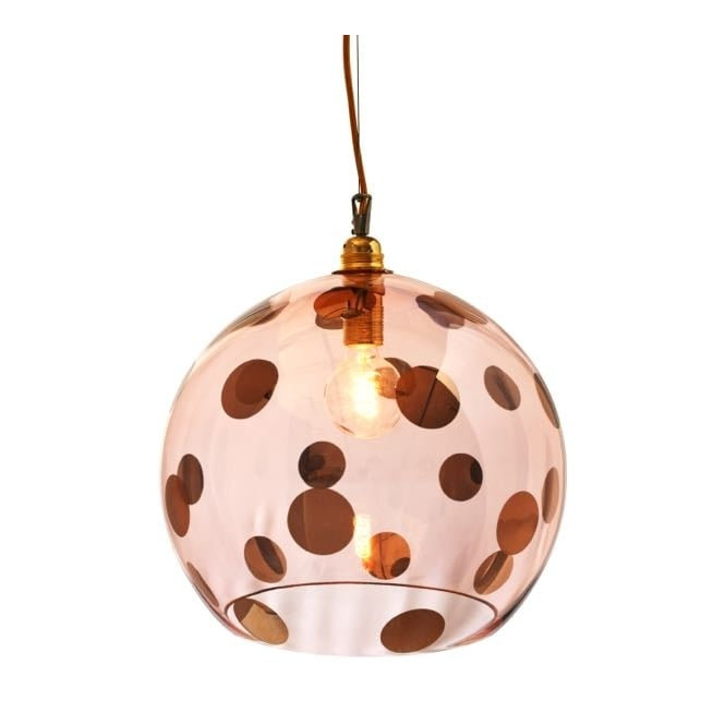 Copenhagen Glass Collection ROWAN transparent coral glass ceiling pendant with coral dots (large)