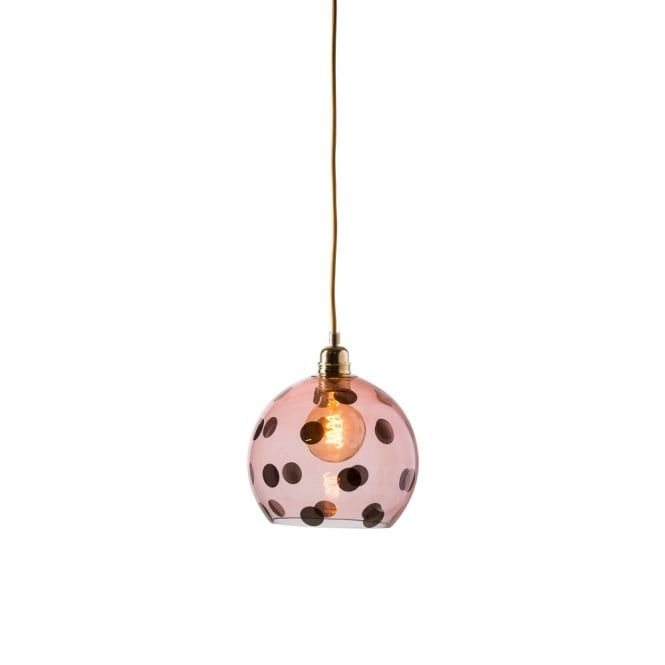 Copenhagen Glass Collection ROWAN transparent coral glass ceiling pendant with coral dots (small)