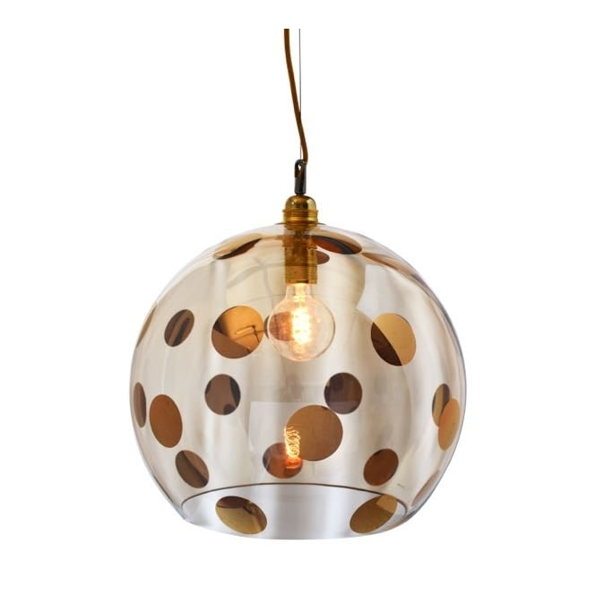 Copenhagen Glass Collection ROWAN transparent gold glass ceiling pendant with gold dots (large)