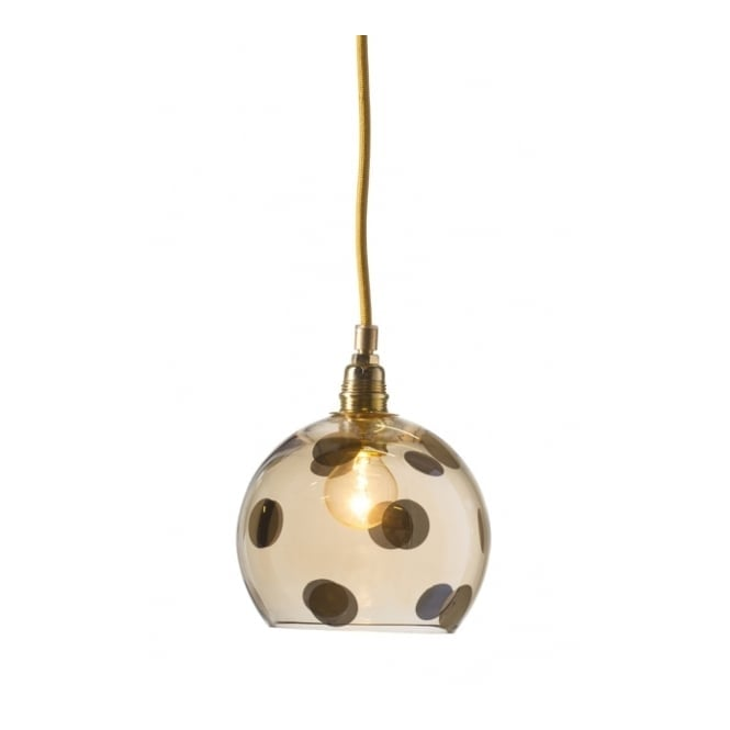 Copenhagen Glass Collection ROWAN transparent gold glass ceiling pendant with gold dots (mini)