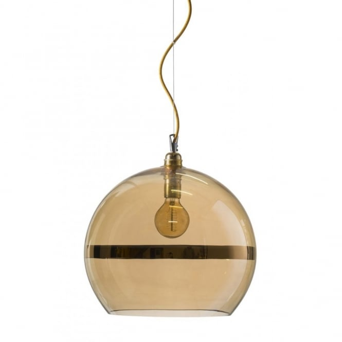 Copenhagen Glass Collection ROWAN transparent gold glass ceiling pendant with gold stripe (large)