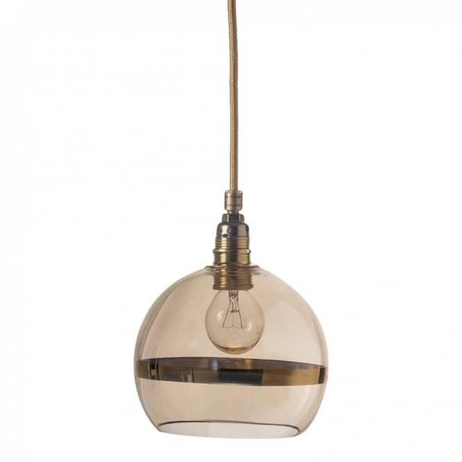Copenhagen Glass Collection ROWAN transparent gold glass ceiling pendant with gold stripe (mini)