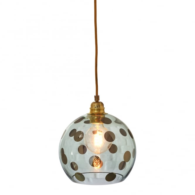 Copenhagen Glass Collection ROWAN transparent green glass ceiling pendant with green dots (small)