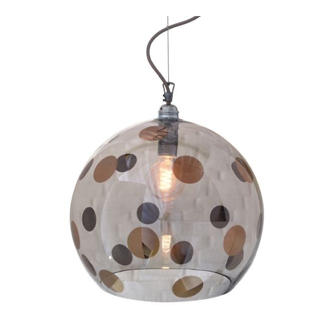 Copenhagen Glass Collection ROWAN transparent grey glass ceiling pendant with platinum dots (large)
