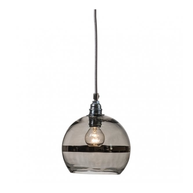Copenhagen Glass Collection ROWAN transparent grey glass ceiling pendant with platinum stripe (mini)