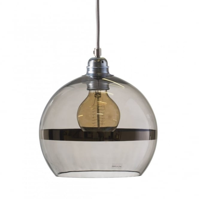 Copenhagen Glass Collection ROWAN transparent grey glass ceiling pendant with platinum stripe (small)