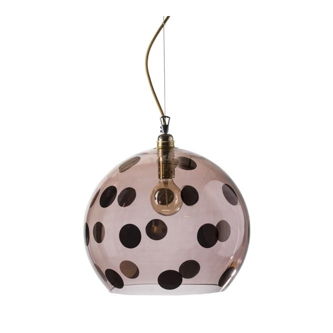 Copenhagen Glass Collection ROWAN transparent obsidian glass ceiling pendant with copper dots (large)
