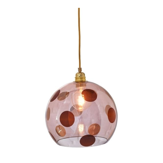 Copenhagen Glass Collection ROWAN transparent obsidian glass ceiling pendant with copper dots (medium)