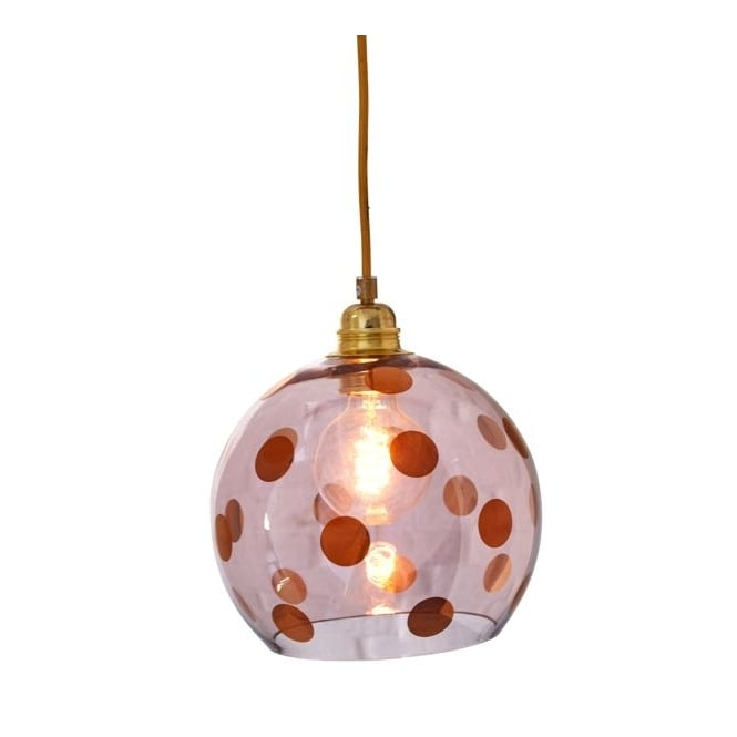 Copenhagen Glass Collection ROWAN transparent obsidian glass ceiling pendant with copper dots (small)