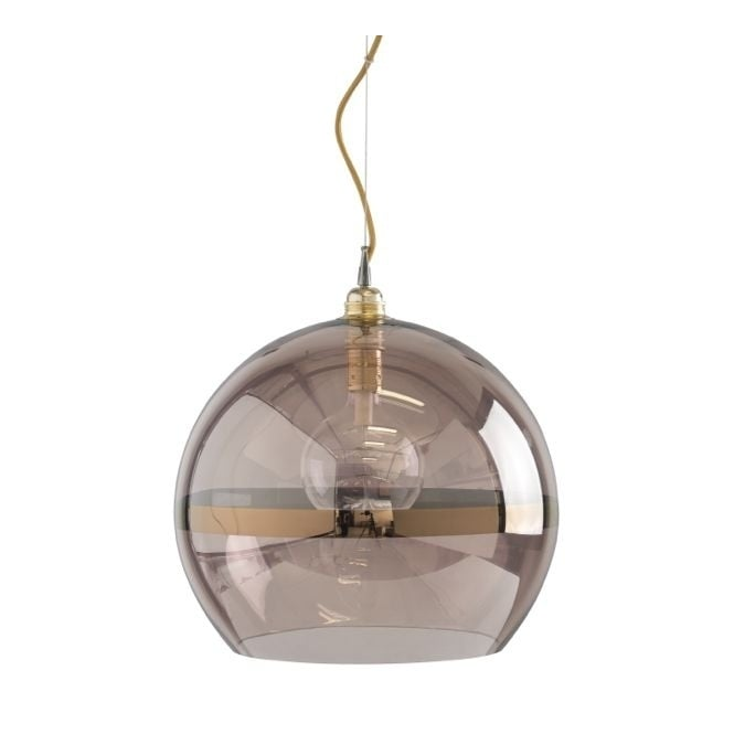 Copenhagen Glass Collection ROWAN transparent obsidian glass ceiling pendant with copper stripe (large)