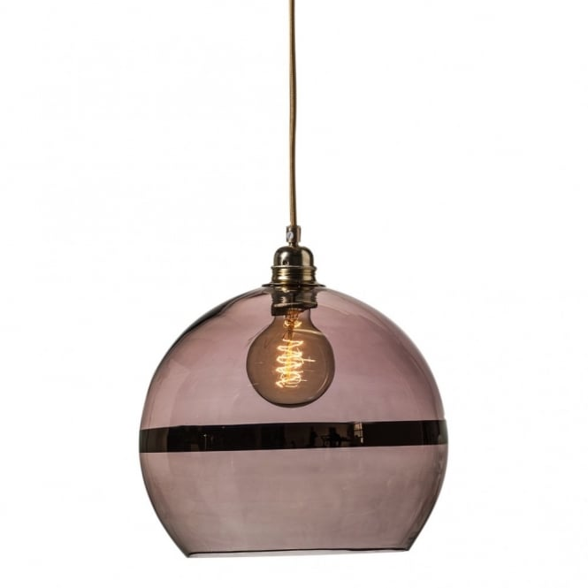 Copenhagen Glass Collection ROWAN transparent obsidian glass ceiling pendant with copper stripe (medium)