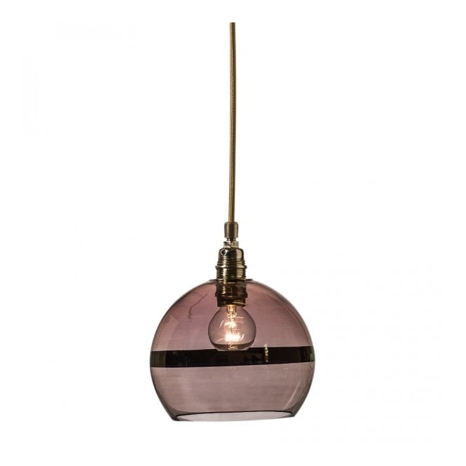 Copenhagen Glass Collection ROWAN transparent obsidian glass ceiling pendant with copper stripe (mini)