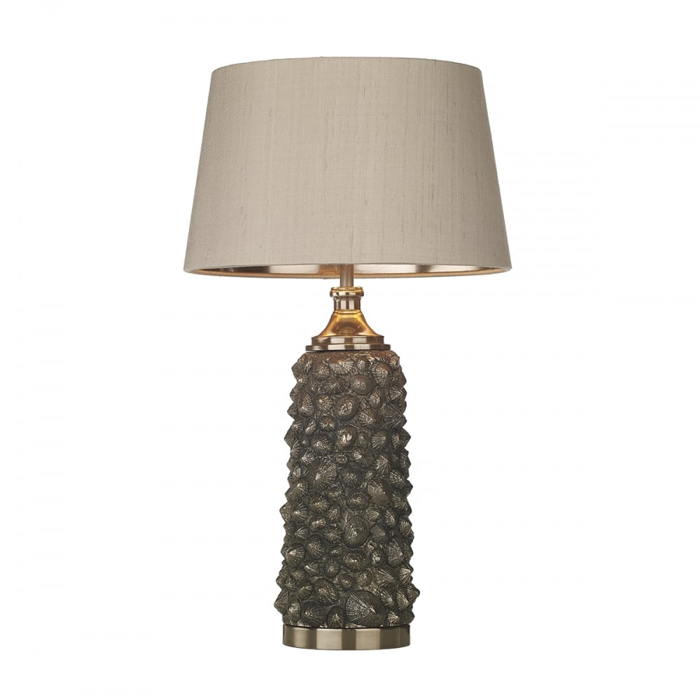 Decorative limpet shell table lamp in bronze with taupe and gold shade bronze limpet shell design table lamp with silk shade aloadofball Images
