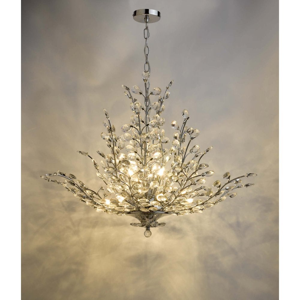 Large 9 Light Floral Chandelier In Chrome With Crystal Detailing