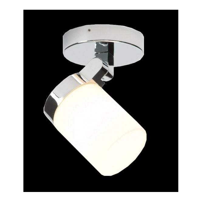Modern Bathroom Spot Light In Chrome With White Glass Shade Ip44