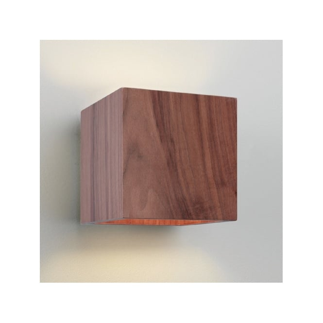 Rustic wooden cube wall washer light great for rustic homes cremona rustic wooden walnut wall light aloadofball Gallery