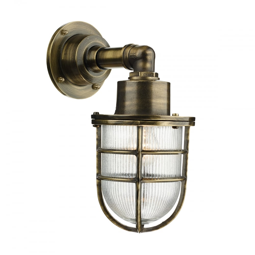 Nautical Industrial Style Outdoor Wall Light In Antique Brass