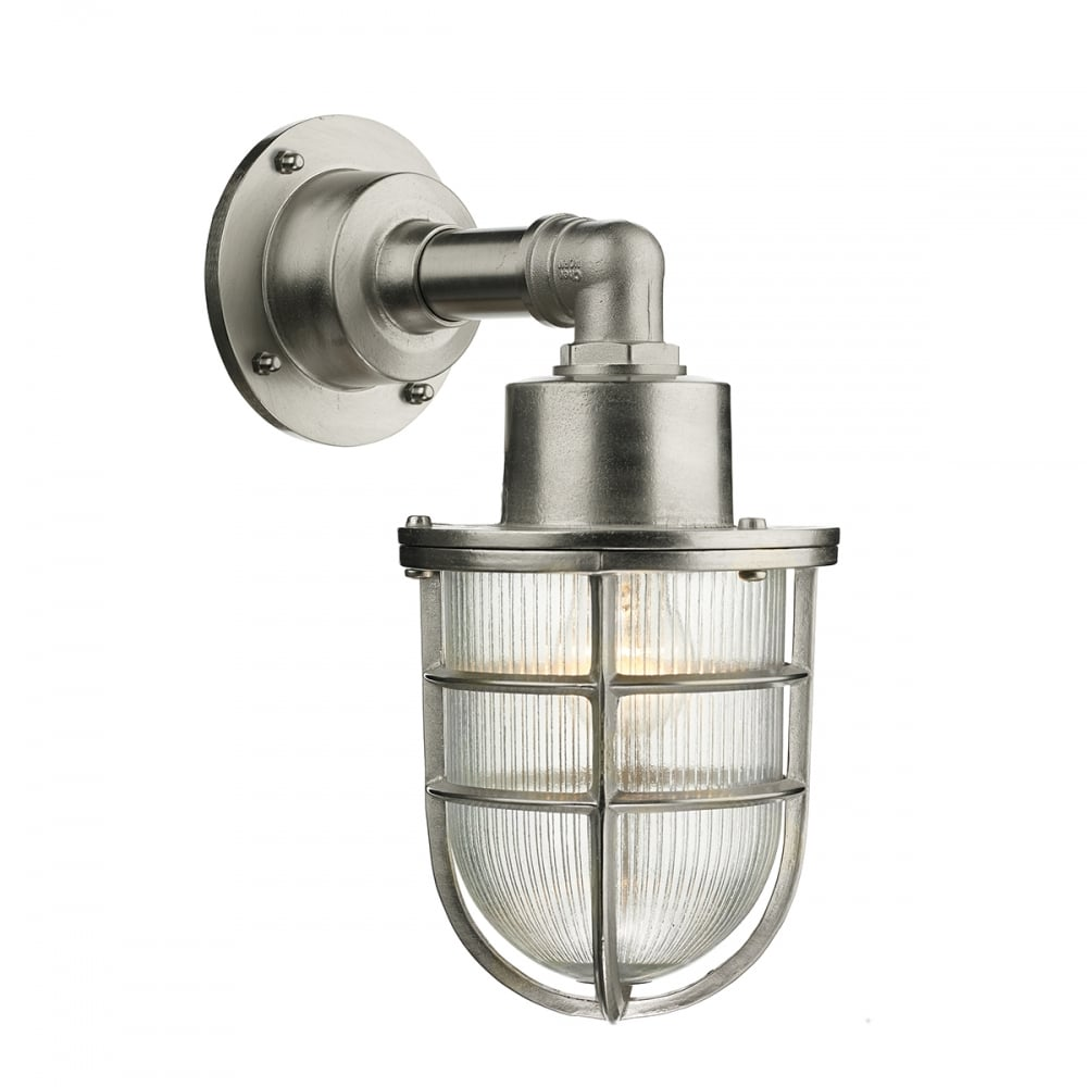 CREWE Nautical Industrial Style Outdoor Wall Light In Nickel