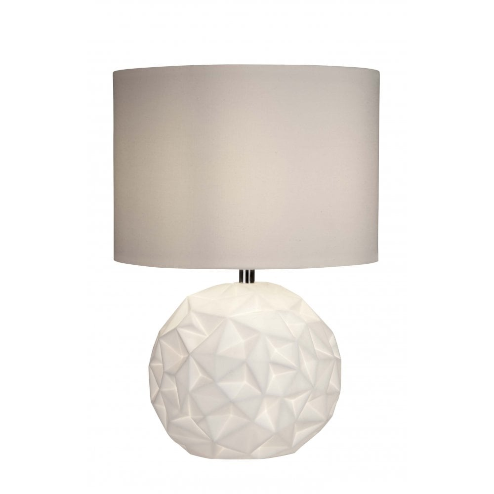 Crinkle White Ceramic Table Lamp With Geometric Pattern And Shade