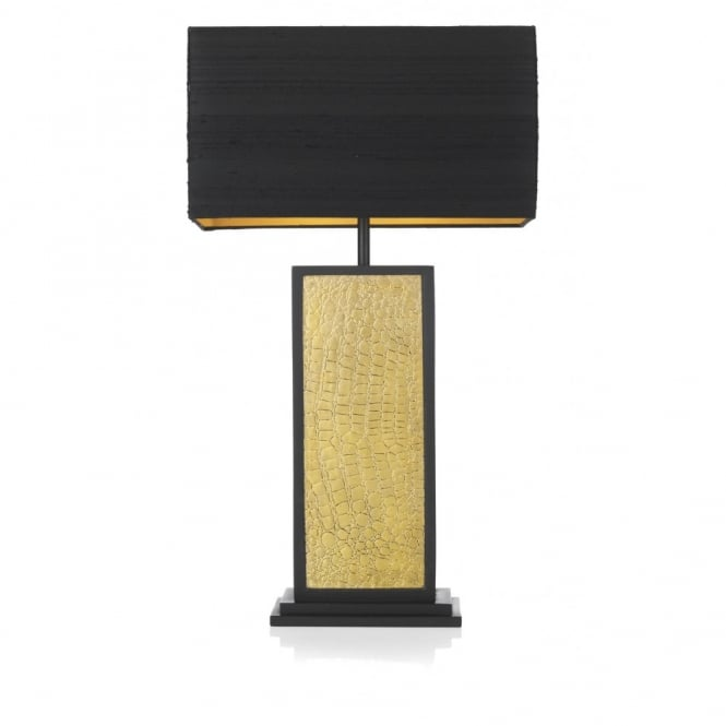 Crocodile pattern black gold table lamp square base black shade croc black gold table lamp mozeypictures Gallery